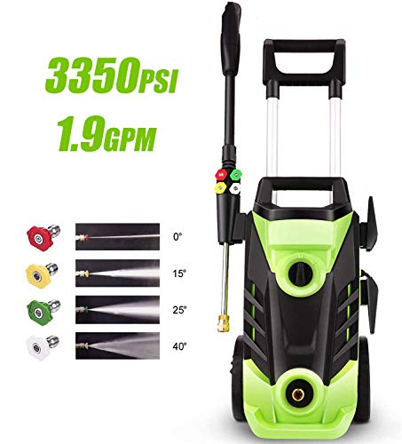 Homdox 3350 PSI Electric Pressure Washer 1.9 GPM High Pressure Washer 1800W Electric Power Washer Cleaner with 4 Nozzles (Green)