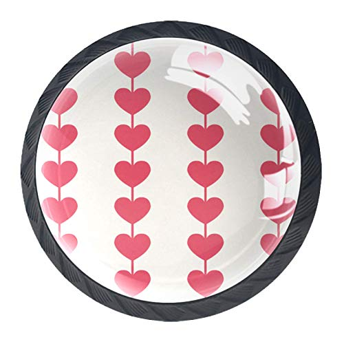 LXYDD Manijas para cajones Perillas para gabinetes Perillas Redondas Paquete de 4 para Armario, cajón, cómoda, cómoda, etc, Cortina Corazón Lunares Rojo Caramelo