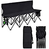 Giantex 4 Seats Folding Chair Portable Bench 4-Person Bleacher Chair Lightweight Sports Bench with Side Bag and Carry Bag, (Black)