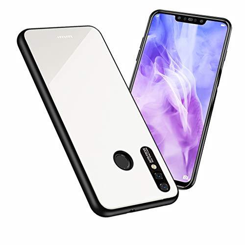 UBERANT Capa para Huawei Nova 3, bumper de TPU macio e parte traseira de vidro temperado resistente a arranhões e à prova de choque para Huawei Nova 3 - Branco