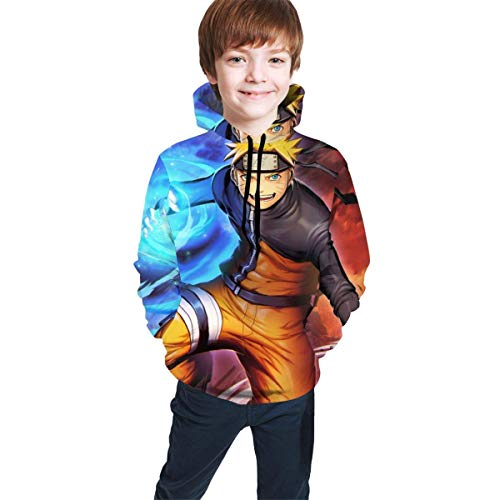 Hidend Kinder Kapuzenpullover Sweatshirt, Uzumaki-Naruto Fashion Youth Hoodies 3D Print Hooded Pullover Unique Sweatshirts Hoody for Boys Girls