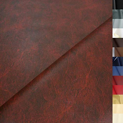 TOLKO Lederimitat mit Rindsleder Optik   weiche PREMIUM Meterware   für Stuhl Bank Sessel Sofa Sitzbezug 140cm breit   Kunstleder Bezugstoff Polsterstoff Polsterbezug Möbelstoff (Antik Bordeaux)