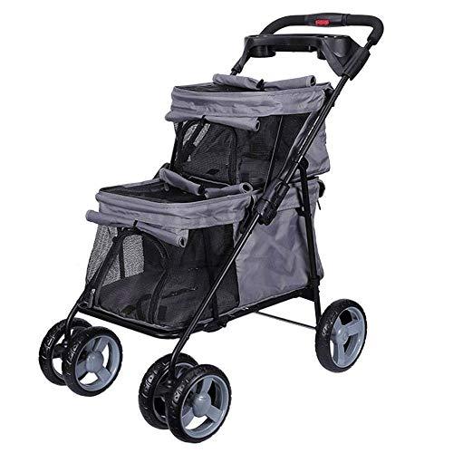 Double Layer Pet Stroller for katten/honden, Kinderwagen Buggy kinderwagen One-Hand Opvouwbaar, met Storage Basket, for 20kg Laadvermogen, for Twin Of Multiple Travel Pet