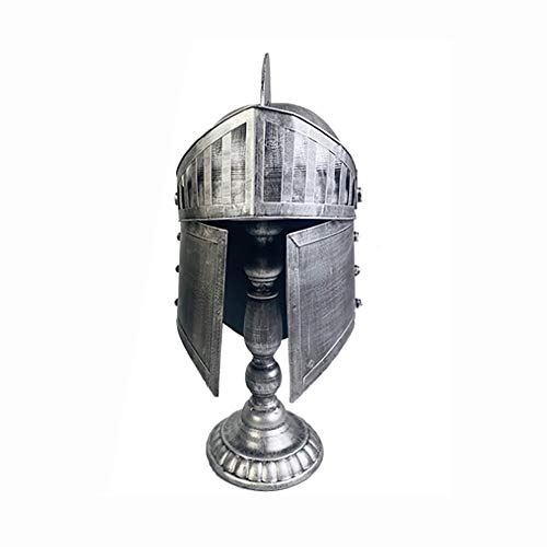 Nvshiyk Disfraz Medieval Casco de Armadura de Armadura del Guerrero Medieval de Hierro Fundido Joyera de Oro y Plateado Casco de Caballero Cruzado Accesorio para Sombreros de Disfraces