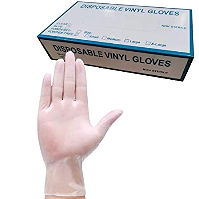 100 Pack PVC Clear Disposable Gloves, Food Service Gloves Disposable for Food Prep Kitchen Food Service, Large Size