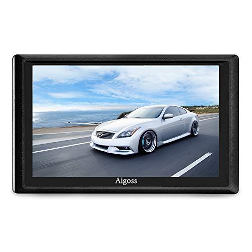 Aigoss Navigation für Auto, 7 Zoll Touchscreen 8GB GPS Navi Navigationsgerät mit Bluetooth POI Sprachführung Fahrspurassistent LKW PKW KFZ mit Lebenszeit Kostenlose Kartenupdates 2020 Europa Karten