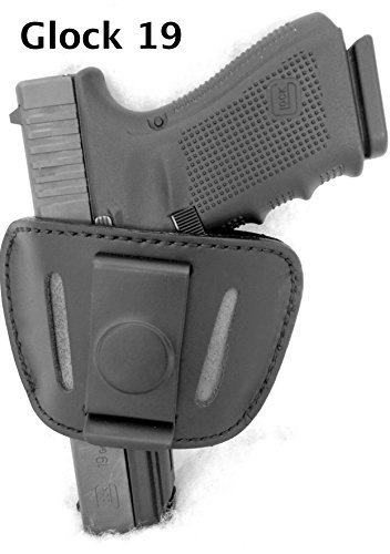 DTOM Premium Leather (not Synthetic) Universal IWB or OWB Ambidextrous Belt Slide Holster Black