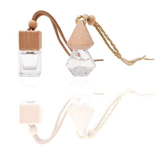 Liwein 10 pcs Botella de Perfume Colgante de Coche Mini Botella de Perfume de Vidrio Vacía Portátil Ambientador Colgante Vacío de Cristal Colgante de Coche para colgar en el coche decoración del hogar