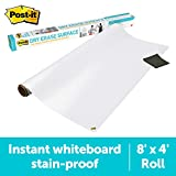 Post-it Dry Erase Whiteboard Film Surface for Walls, Doors, Tables, Chalkboards, Whiteboards, and More, Removable, Stain-Proof, Easy Installation, 8 ft x 4 ft Roll (DEF8X4A)