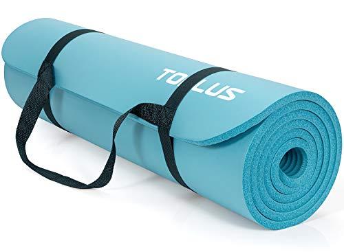 TOPLUS Verdickte Gymnastikmatte Phthalatfreie Yogamatte rutschfest und gelenkschonend Sportmatte für Yoga Pilates Sport mit praktischem Trageband Pilatesmatte 183 * 61 * 1 cm,Blau