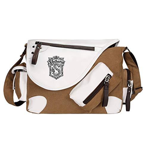 College Style Shoulder Bag Girl Messenger Bag Boy Book Bag School Bag Suitable For Children Aged 7~16 Large Brown-S