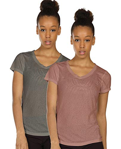 icyzone Activewear Fitness Yoga Tops Workout V Neck Open Back T-Shirts for Women(Pack of 2)(XL,Grey/Mocha)