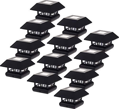 "GreenLighting 12 Pack Veranda Solar Powered LED Post Cap Light for 4"" x 4"" Wood Posts (Black)"