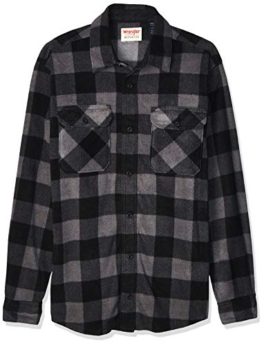 Wrangler mens Long Sleeve Plaid Fleece Jacket Button Down Shirt, Gray Buffalo Plaid, Large US