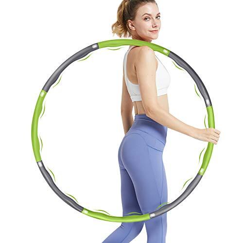 DUTISON Hula Hoop Reifen für Erwachsene zur Gewichtsreduktion mit Schaumstoff Gewichten Einstellbar Breit 48–88cm Exercise (Grau&Grün)