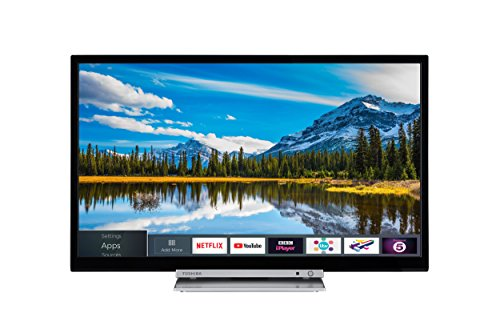 Toshiba 32D3863DB 32-Inch HD Ready Smart TV with Freeview Play and Built-In DVD Player - Chrome Black/Silver (2018 Model)