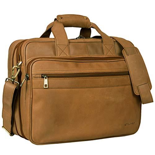 STILORD 'Leopold' Grande borsa in pelle da Insegnante Professore Portadocumenti a tracolla per Ufficio Lavoro A4 raccoglitori in cuoio Uomo Donna