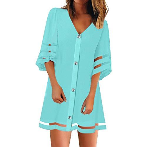 Zottom Frauen Kleider, V-Ausschnitt Mesh Panel Bluse Loose Top mit Knöpfen HemdkleidFreizeitkleider