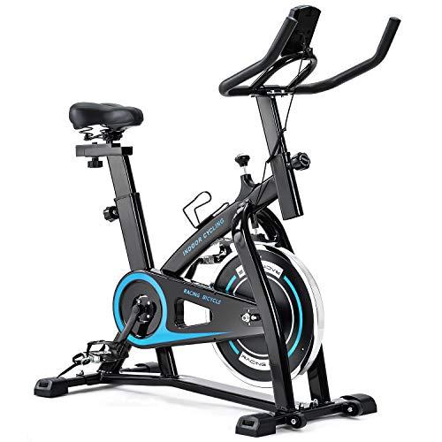 Merax Exercise Bike Indoor Cycling Bike Cycle Trainer Adjustable Stationary Bike 330LBS Weight Capacity (Blue)