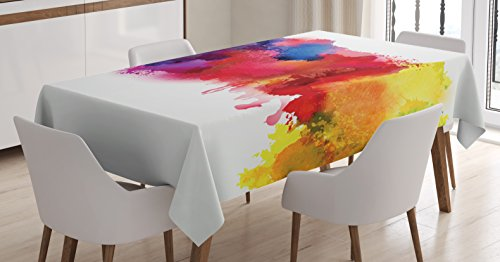 Ambesonne Abstract Tablecloth, Vibrant Stains of Watercolor Paint Splatters Brushstrokes Dripping Liquid Art, Rectangular Table Cover for Dining Room Kitchen Decor, 60' X 84', Yellow Blue