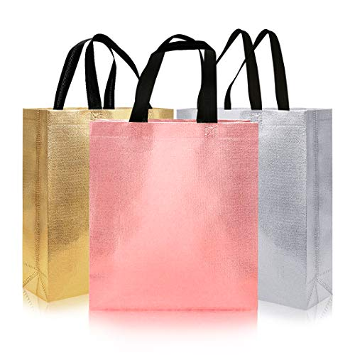 16pcs Glossy Reusable Grocery Shopping Bag, Non-woven Tote Bag with Handle, Stylish Foldable Present Bag Gift Bag, Larger Goodies Bag Promotional Bag for Birthday Party Wedding (Mix Colors)