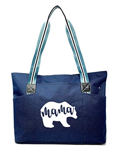Large, Cute, Fun, Unique Tote Bag for Women - Unique Fun Gifts for Work, Gym, Beach, Christmas, Birthday, Mother's Day (Mama Bear Blue Premium)