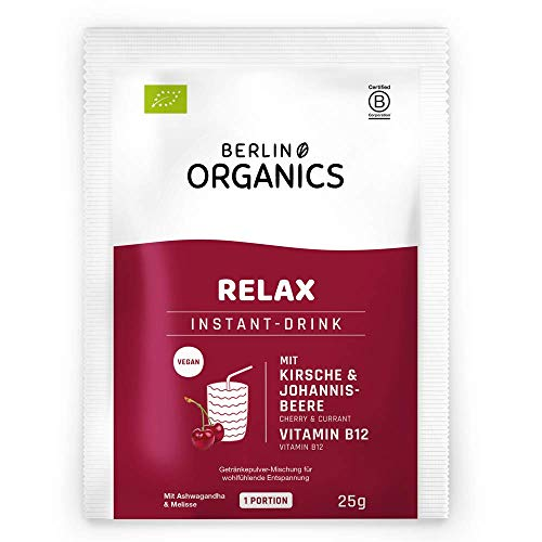 BIO Vital Drink RELAX (10Stk./250g) Vegan - Anti Stress mit natürlichem Vitamin B12, Ashwagandha, Passionsblume & Melisse - Made in Germany