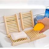 LIGhtsaber 4Pcs Jabonera de Madera Jaboneras Bambu Bandeja de Jabón Caja de Jabón de Madera de Natural Bambú para Bandeja de jabón para La Cocina Ducha de baño Fregadero - para Jabón,Esponjas y Más