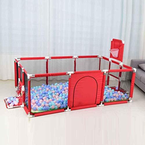 CHILD FENCE Baby Laufgitter Tragbarer Sicherheitsbaby-Laufstall, Kinderspiel Zaun Sicherheitslaufstall Baby-Laufgitter Und Bällebad-Set Für Indoor-Baby- Und Kleinkind-Sicherheitstore,Rot