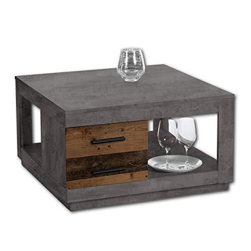 Stella Trading FULDA Couchtisch mit zwei Schubladen in Old Wood Optik, Betonoxid - geräumiger Sofatisch mit Ablage für Ihren Wohnbereich - 80 x 46 x 80 cm (B/H/T)