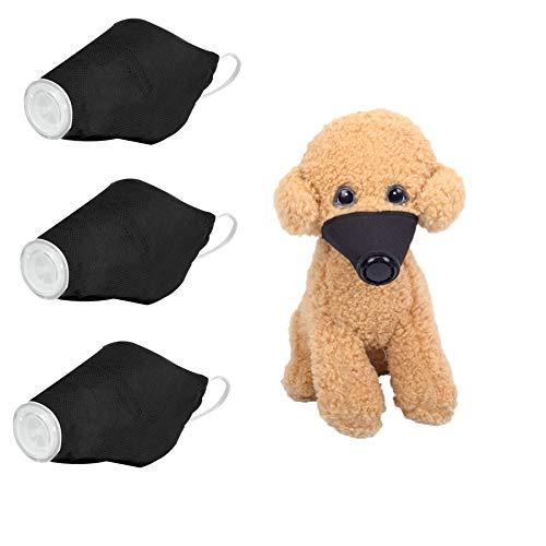 CheeseandU 3 Pack Dog Masks, Dustproof Reusable Puppy Masks Adjustable Strap Anti Fog PM2.5 Filter Protective Mask Puppy Mouth Guard Mask Cover Pet Respirator Masks for Dog,Black