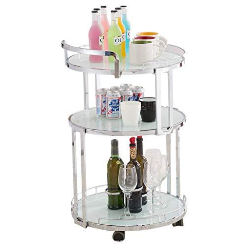 3-stufiger Servierwagen aus gehärtetem Glas mit Weinregal, Weinwagen, Ablagefach auf Rad, 3 Regale, für Küche Wohnzimmer Schlafzimmer, Gold/Silber