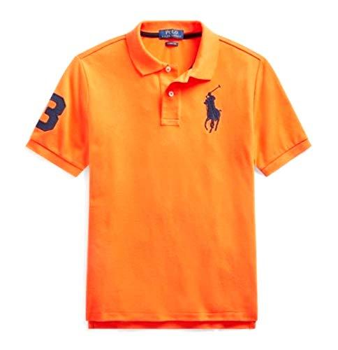 Polo Ralph Lauren Mens Custom Fit Big Pony Logo Polo Shirt (Medium, Orange (Navy Pony))