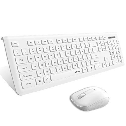 Aikun 24Ghz Wireless KeyboardThin Profile Keyboard and Sleek Mouse104 Floating Chocolate ButtonsLong Battery LifePlugandForget Nano Receiver White