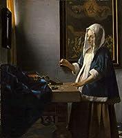 Johannes Vermeer ジクレープリント キャンバス 印刷 複製画 絵画 ポスター (女性、バランスを保つ)