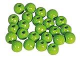 Rayher 1250150 Holzperlen, FSC Zertifiziert, poliert, 115 Stück, schweiß-und speichelecht, Schmuckperlen, Perlen für Baby-Schnullerketten, Buchenholz, apfelgrün, 6mm ø