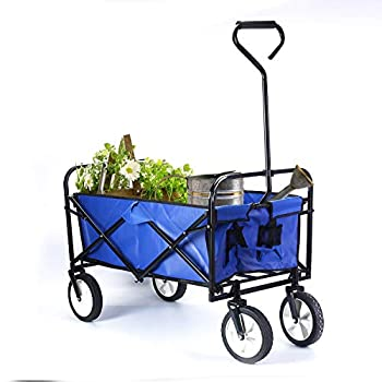 Nisorpa Collapsible Outdoor Utility Wagon Folding Garden Wagon Cart with 8  Rubber Wheels Portable Shopping Carts Wheelbarrow for Shopping Grocery Sports Equipment Tailgating