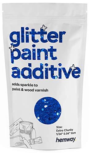 Hemway - Pintura con purpurina extra gruesa de 1/24 pulgadas, 0.040 pulgadas, 1 mm, emulsión a base de agua, para techo de pared, 100 g, azul