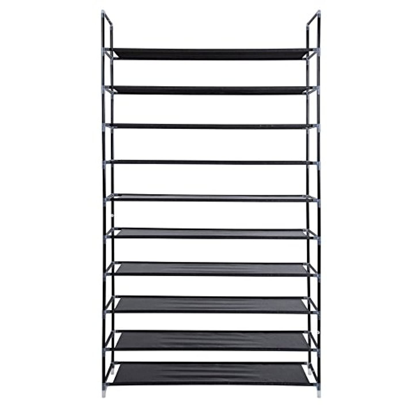 10 Tiers Shoe with Handle Simple Assembly 50 Pairs Non-Woven Fabric Shoe Tower Storage Organizer Cabinet for Bedroom Entryway Hallway (Black-10 Tiers)