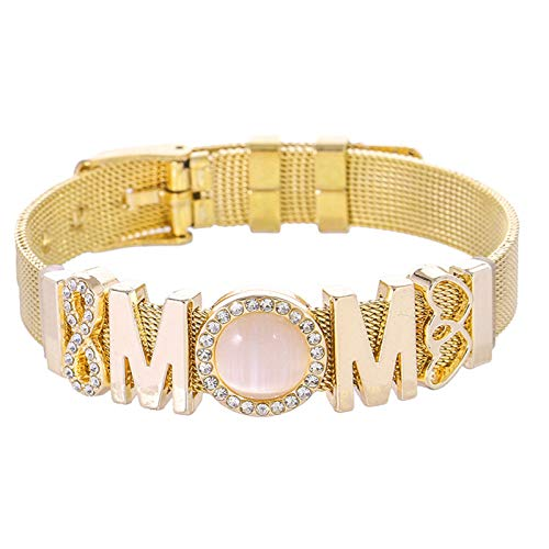 ZGF Mom Gift Bracelet A Mother's Love Is Forever Bracelet Gift for Mother Valentines Christmas Birthday Thanksgiving Mothers Day,Gold