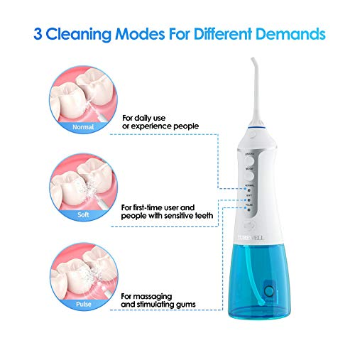 Turewell Water Dental Flosser,Portable Cordless Dental Oral Irrigator with 4 Jet Tips and 300ml Reservoir, 3 Cleaning Modes, IPX7 Waterproof,Turewell Rechargeable Water Dental Flosser, FDA Approved