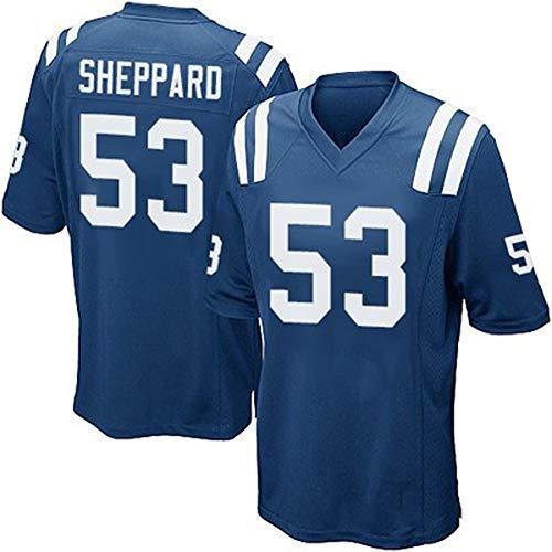 American Football Trikot Colts 53# Shepparo Rugby Trikots Student T-Shirt Professionelle technische Kleidung Sport Kurzarm-Trainingsoberteil Weich und bequem-Blue-M