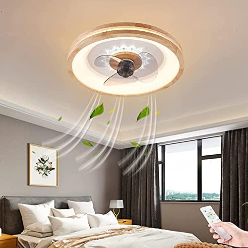 Ventilador de techo de madera maciza con luz LED, control remoto, regulable, ultradelgado, invisible, con temporización, ventiladores de techo con lámparas, silencioso, 72 W, iluminación de techo in