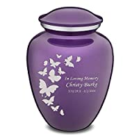 GetUrns Adult Embrace Butterfly Cremation Urn with Custom Engraving Purple