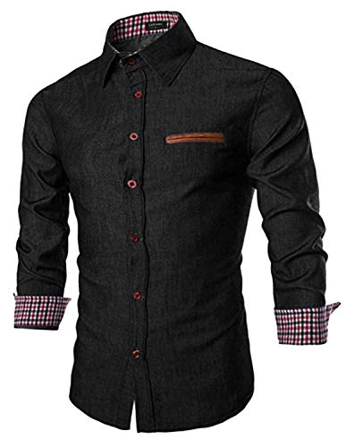 Coofandy Men's Casual Dress Shirt Button Down Shirts 01-black Medium