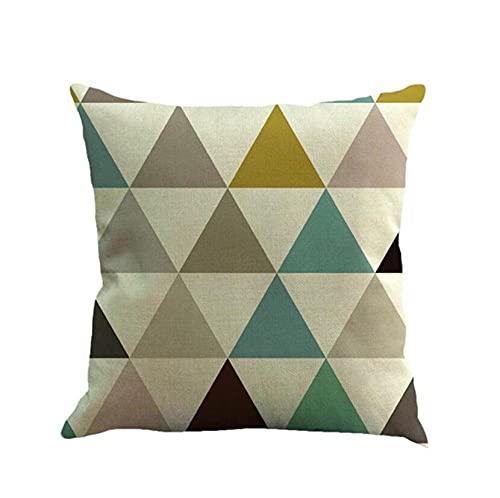 Set of 2 Triángulo geométrico Fundas de cojín cuadradas de Doble Cara Lino Suave Cuadrado Funda de Almohada Decorativa Sofá Dormitorio Cama Decoración Cremallera Invisible
