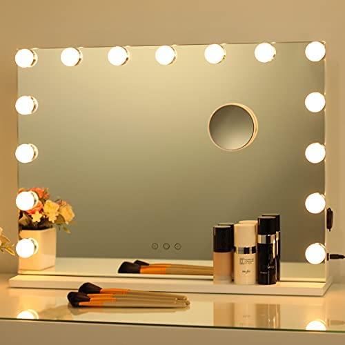 2-FNS Hollywood Espejo de maquillaje con iluminación, espejo grande con 15 bombillas regulables, control táctil inteligente, espejo cosmético iluminado para dormitorio, vestidor