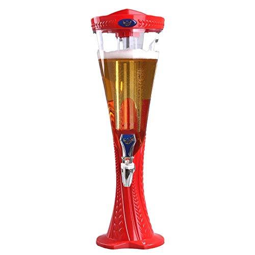 LIUHUI Dispensador de Bebidas de Torre de Cerveza de Barril frío de 3L con Luces LED y Tubo de Hielo extraíble, Fiestas Uso de cafetería en el hogar Picnic Bar