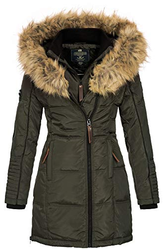 Geographical Norway Damen Jacke Winterparka Belissima XL-Fellkapuze Khaki L