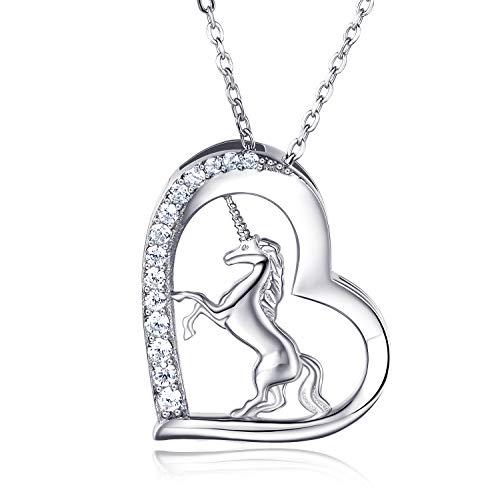 Collier pendentif licorne en argent sterling 925 pour femmes - Van Chloe CZ diamant plaqué or blanc collier bijoux cadeau pour femmes filles